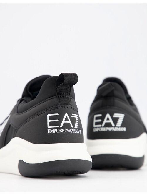 Armani Exchange Armani EA7 Racer eagle logo sneakers in black