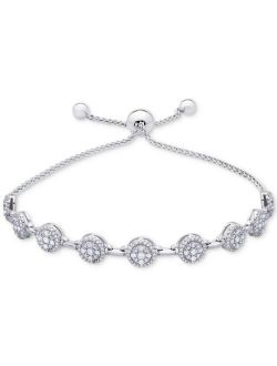 Macy's Diamond Cluster Bolo Bracelet (1 ct. t.w.) in 14k White Gold