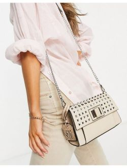 Bstyle studded cross body bag in light pink