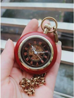 CLDR Red Wood Case Mechanical Pocket Watches Hand Wind Black Roman Dial  Pocket Watch Vintage  Gift Watches with Chain