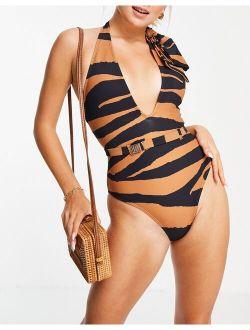 Animal Bow Halterneck Swimsuit In Brown
