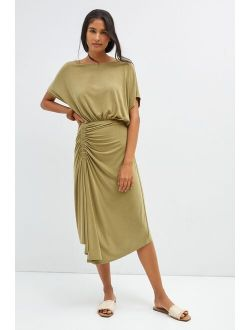 Anthropologie Ruched Knit Maxi Dress