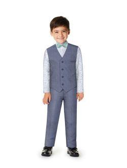 Little Boys Micro Texture Vest, 4-piece Set