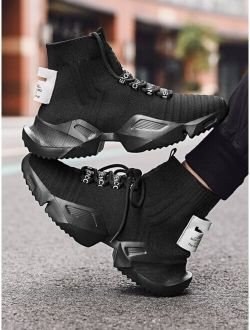 Men High Top Knit Chunky Sneakers