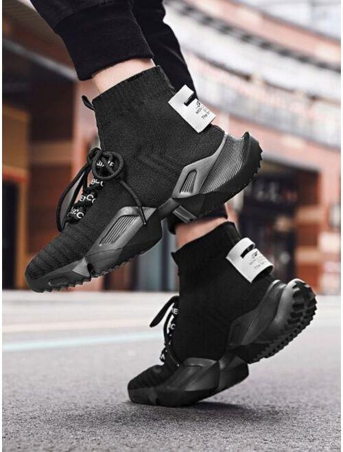 Shein Men High Top Knit Chunky Sneakers
