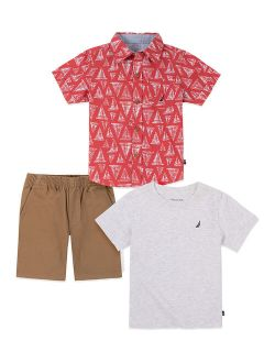 Red & White Geometric Short-Sleeve Button-Up Set - Infant, Toddler & Boys