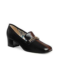 Women's Mid Heel Loafer Pumps Feline Shoes Black