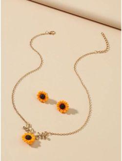 1pair Sunflower Design Earrings & 1pc Necklace
