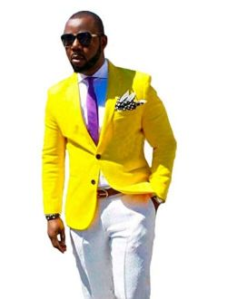 Botong Men's Yellow Jacket White Pants Wedding Suits 2 Pieces Men Suits Groom Tuxedos Party Suits