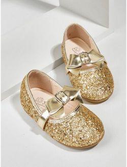 Toddler Girls Bow Decor Glitter Flats
