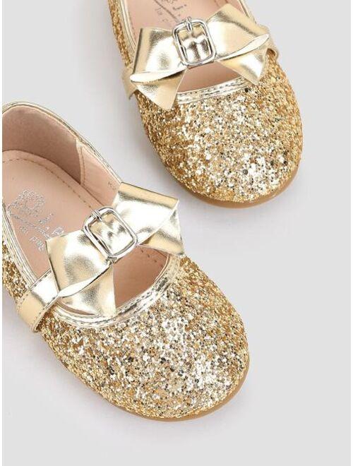 Shein Toddler Girls Bow Decor Glitter Flats