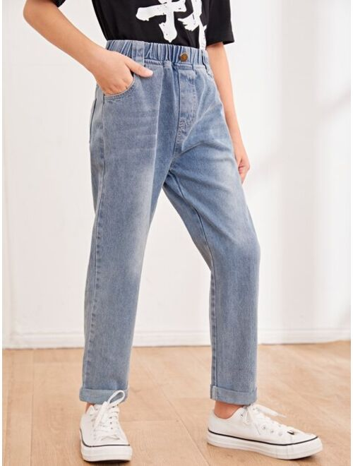 Shein Boys Slant Pocket Straight Leg Jeans