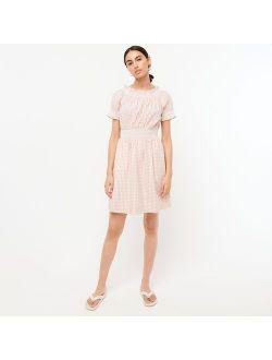 Smocked puff-sleeve cotton poplin dress in gingham