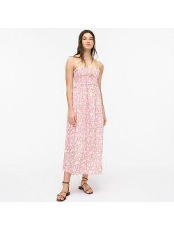 Smocked cotton poplin dress in rose vines