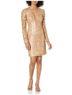 Dress the Population Women's Claudia Plunging Lace Mini Dress