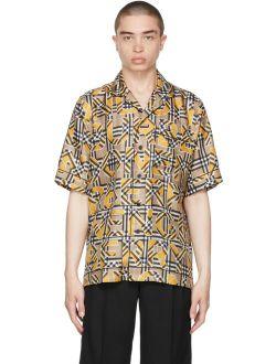 Burberry Yellow Silk Logo & Vintage Check Short Sleeve Shirt