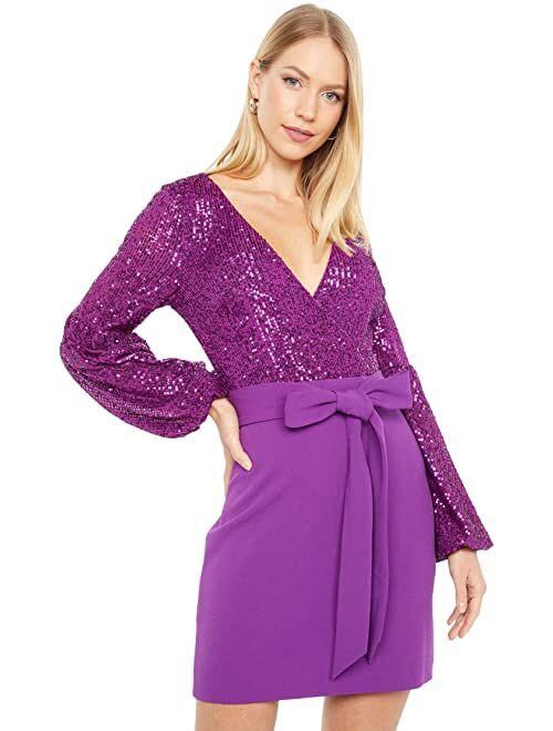 ONE33 Social Volume Sleeve Retro Sequin Combo Party Dress