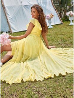 Swiss Dot Ruffle Trim Belted Dress