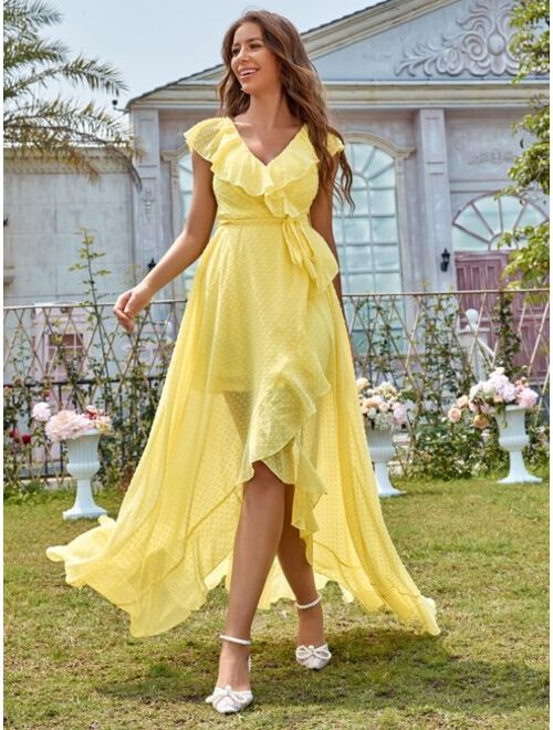 Shein Swiss Dot Ruffle Trim Belted Dress
