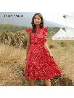 Summer New Chiffon Dress Women Elegant Floral Print Ruffle A Line Sundress