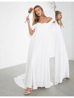 ASOS EDITION Jasmine ruched bust wedding dress with drape sleeve