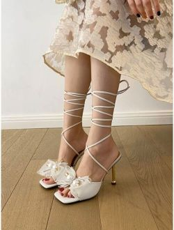 Bow Decor Stiletto Heeled Gladiator Sandals