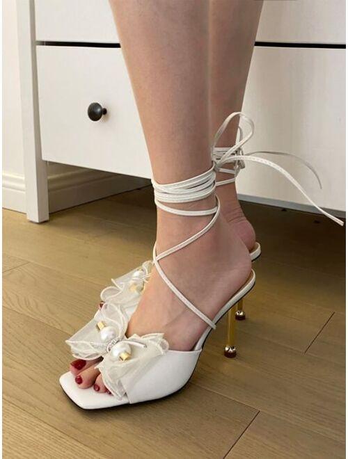 Shein Bow Decor Stiletto Heeled Gladiator Sandals