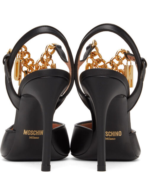 Moschino Black T-Strap Lettering Charm Heels