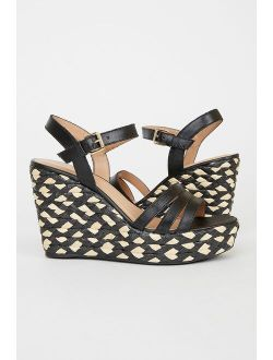 Wyland Black Nappa Leather Ankle Strap Espadrille Wedge Heels