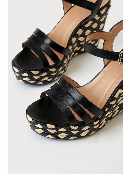 Lulus Wyland Black Nappa Leather Ankle Strap Espadrille Wedge Heels