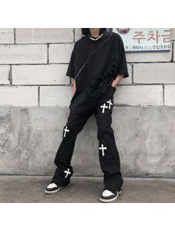BiggOrange New 2021 hiphop brand printed cross overalls casual loose retro high waist trousers  streetwear gothic pants for men and women