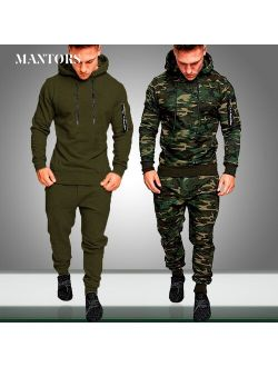 Mens New Sets Camouflage Autumn Running Casual Jogger Tracksuit Men Sweatshirt Sports Set Gym Zipper Slim Fit Male Sport Suit