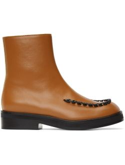 JW Anderson Brown Stitch Ankle Boots