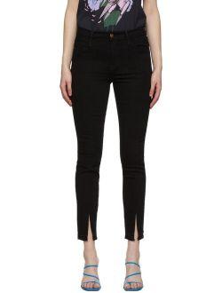 Frame Black 'Le High Skinny' Front Split Jeans