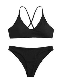 Women's Bathing Suits Spaghetti Strap Criss Cross Back Bikini Ribbed Swimsuit