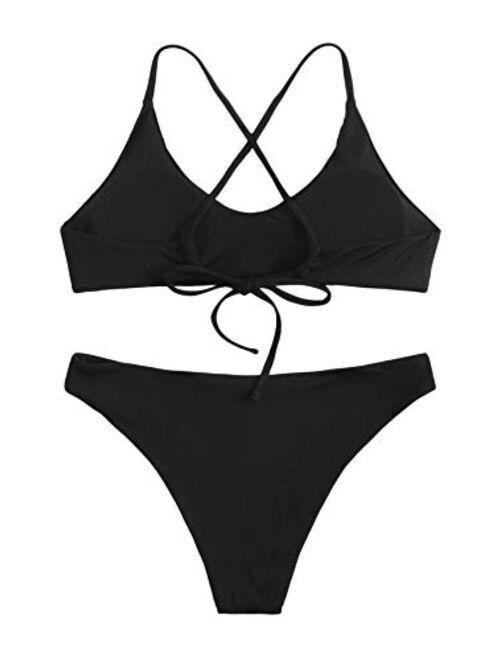SweatyRocks Women's Bathing Suits Spaghetti Strap Criss Cross Back Bikini Ribbed Swimsuit