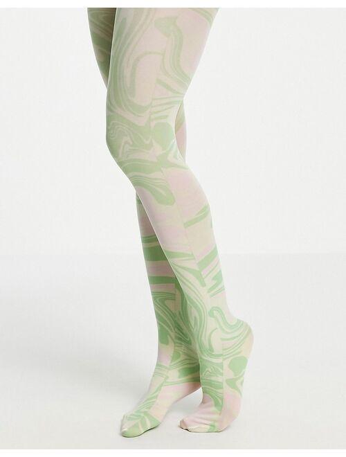 ASOS DESIGN swirl printed tights in pastel tones