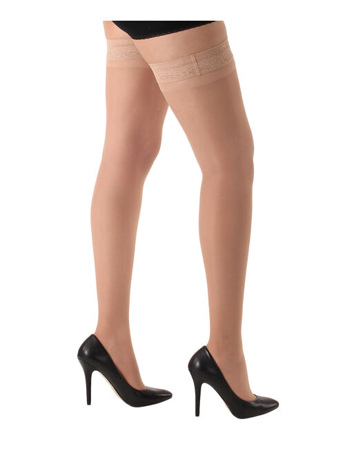CS4U Nude Lace-Top 20-30 mmHg Compression Thigh-High Stockings