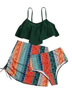 Women's 3 Pack Floral Hanky Hem Bikini Swimsuit & Beach Skirt
