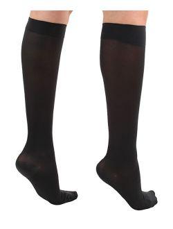 CS4U Black Microfiber Knee-High Firm-Compression 20-30 mmHg Socks