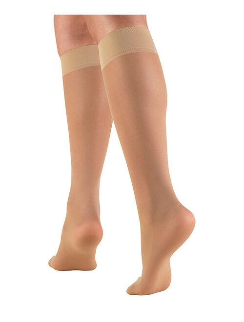 CS4U Beige Sheer Knee-High 8-15 mmHg Light-Compression Socks - Women
