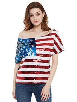 Anna-Kaci Womens Patriotic American USA Flag Sequin Cami Shirt Blouse Tank Top