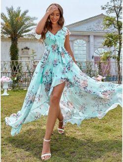 Floral Print Belted Wrap Dress