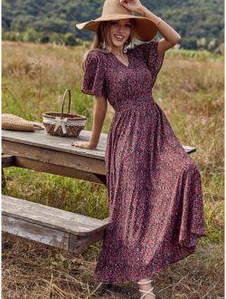 Allover Print Butterfly Sleeve A-line Dress