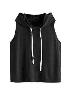 Women's Summer Sleeveless Hooded Tank Top T-shirt For Athletic Exercise Relaxed Breathable