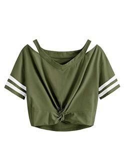 Women's Short Sleeve Cut Out V Neck Twist Front Crop Top T-shirt