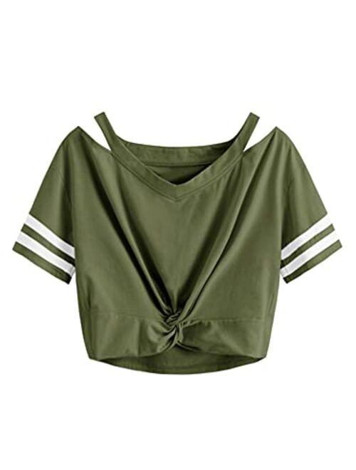 SweatyRocks Women's Short Sleeve Cut Out V Neck Twist Front Crop Top T-Shirt