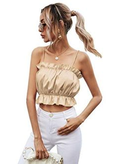 Women's Frill Trim Ruched Front Sleeveless Cropped Cami Tank Top