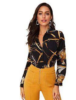 Women's Chiffon Sexy Leopard V Neck Long Sleeve Blouse Shirt Tops