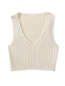 Women's Ribbed Knit Crop Sleeveless V-neck Sweater Vest Crop Tank Top